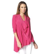 Beautiful Flowing Asymmetrical Drape Front Fuchsia Top / Blouse by Last ... - $55.90