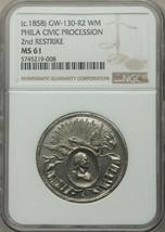 (1858) Philadelphia Civic Procession Medal - Second Restrike / NGC MS-61 - $120.00