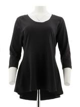 Isaac Mizrahi 3/4 Slv Peplum Scoop Neck Knit Tunic Dark Charcoal S NEW A269500 - $32.65