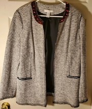 Chicos Womens Large (2) Black White Tweed Jacket Blazer Red Beaded Colla... - $28.96