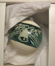 Radko Christmas Ornament Shiny Brite Christmas Greetings Green White Flock Boxed - $7.99