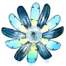 Painted Metal & Glass Yellow Blue Flower Hanging Solar Light Garden Decor image 5