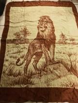 Vintage San Marcos Lion Reversible Blanket brown tan 89×69 Mexican. - $109.99