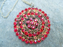 Vintage Gold Tone Red Crystal Medallion Pendant and Necklace - $54.45