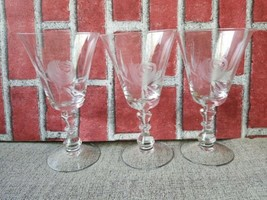 "Fostoria Etched Rose Water Goblet 7"" tall set of 3 - $31.56"