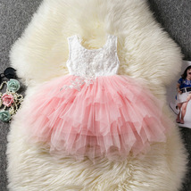 Newly Pink Skirts Wedding Flower Girl Dress Lace Pealrs Formal Bridesmai... - $30.00