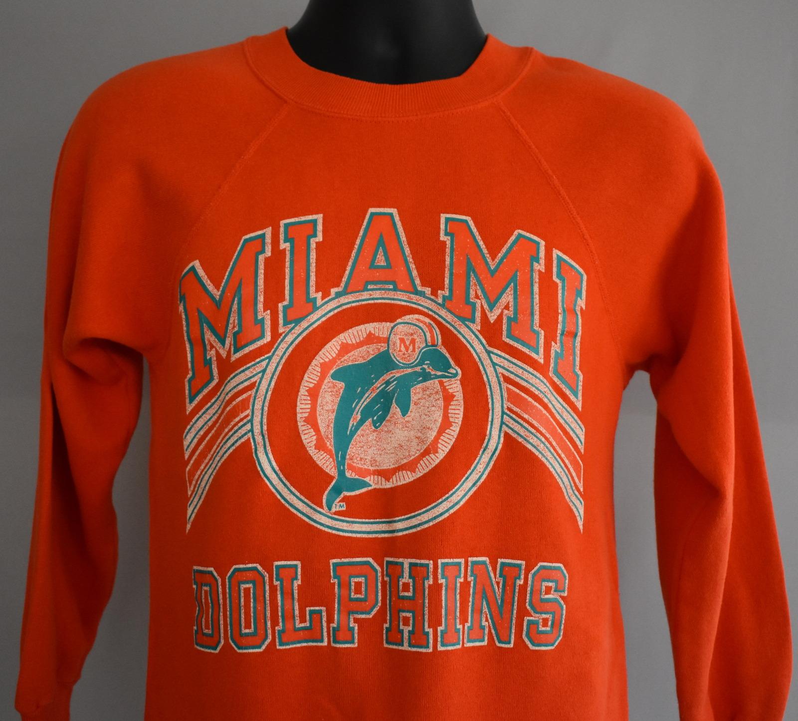 Vintage 80s Miami Dolphins Raglan Sweatshirt Crewneck Size XS to S