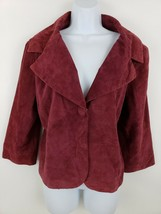 NEW LAL Live a Little Crimson Wine Leather Suede 1 Button Jacket Size XL - $53.45
