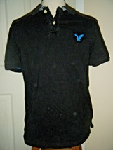 AMERICAN EAGLE CLASSIC FIT BLACK COTTON KNIT POLO SHIRT SZ S/P - $241,54 MXN