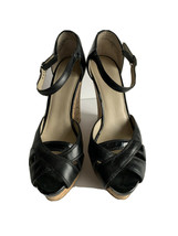 Nine West Women's Shoes Sandals Black straps Wedge open toe 7.5M adj ankle strap - $27.72