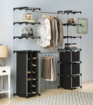 Metal Closet Organizer System Adjustable Clothes Wardrobe Rack Shoe Stor... - $98.99