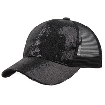 Men Women Sequined Fashion Adjustable Baseball Cap Mesh Protection Solid... - £7.46 GBP