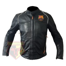 BARCELONA FOOTBALL CLUB COWHIDE LEATHER MOTORBIKE MOTORCYCLE ARMOURED JA... - $209.99
