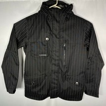 Burton BM Esquire Hooded Men's Large Jacket Black Pinstripe EUC - $83.79