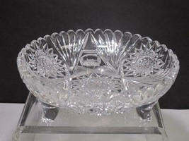 ABP cut glass 3 legged bowl bowl American brilliant - $69.78