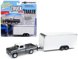 1965 Chevrolet Pickup Truck Dark Silver with Enclosed Car Trailer Limite... - $28.36