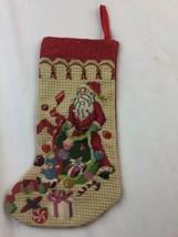 "Small Vintage Needlepoint Christmas Santa Hanging Stocking 12"" - $24.74"