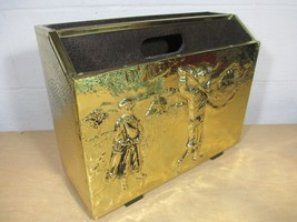 Gold Brass Toned Hammered Pattern Newspaper Magazine Carry Caddy Golfers... - $46.71