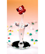 Crystal World Red Rose Vase Miniature Figurine New In Box - $59.28