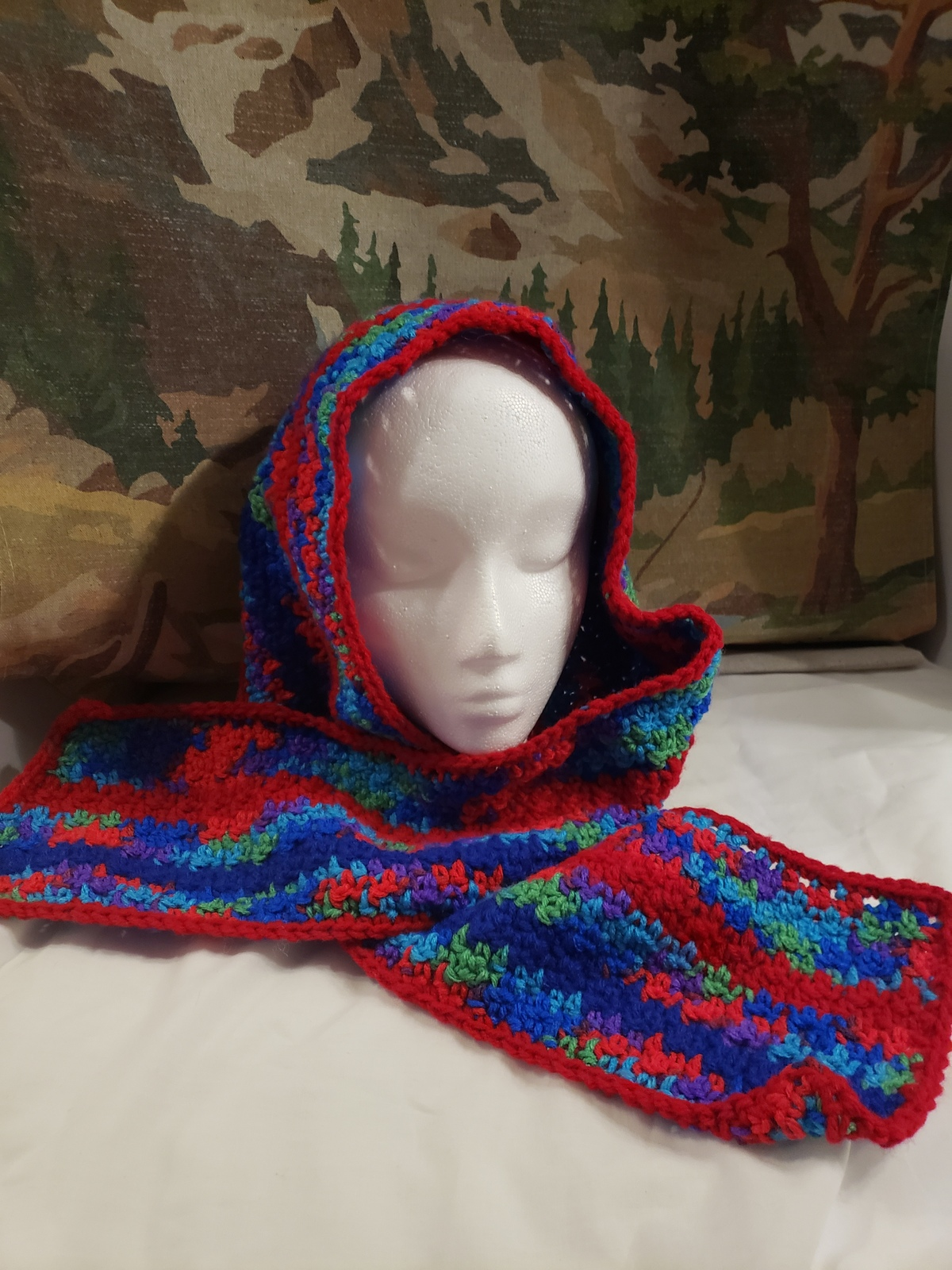 Handmade Crochet Winter Scarf (Multi)