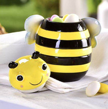 Bumble Bee Design Honey Pot or Candy Jar with Lid Black & Yellow New