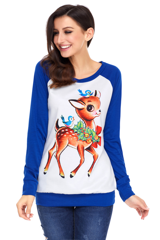 Reindeer and Birds Blue Long Sleeve Christmas Shirt