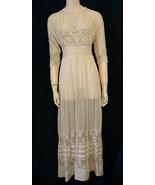 Vintage Edwardian Tea Dress Downton Abbey Wedding Ivory Cotton Lace XS S... - $760.00