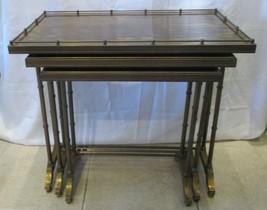 Set of 3 Maison Jansen Hollywood Regency Faux Bamboo Brass Nesting Table... - $1,183.05