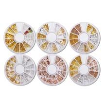 Nail Art Decor Accessories Nail Rhinestones and Metal Beads 6 or 9 Wheels