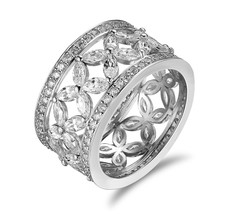 Solid 925 Silver Antique Design Marquise Cut White Diamond Womens Wedding Band - $149.99