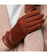 Women Velvet Gloves Sheepskin Leather Solid Fashion Suede Thermal Lining... - $44.64