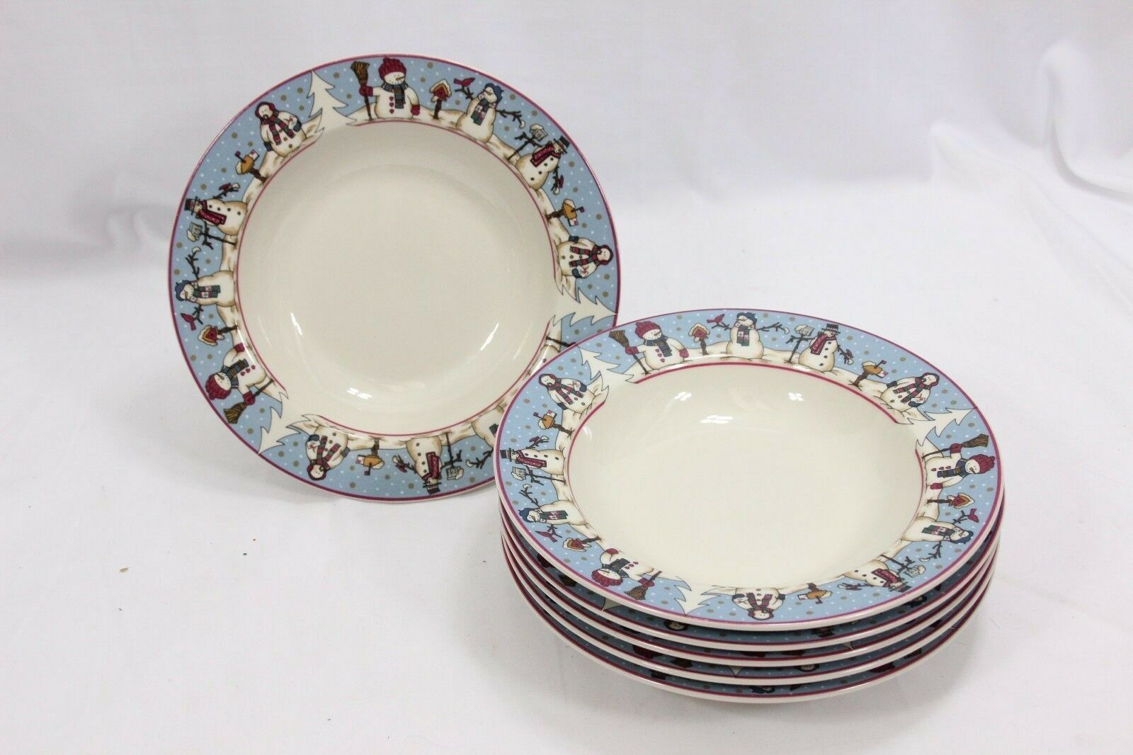 "Snowmen Serenade Rim Soup Bowls Cambridge 8.5"" Set of 12 image 3"