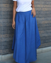 Custom Made Blue Linen Flare Gaucho Palazzo Pants - $42.00