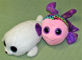 "TY BEANIE BOOS 12"" ICY SEAL & FLIPPY FISH STUFFED ANIMAL WHITE PINK PURP... - $14.85"