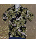Hilo Hattie Hawaiian Shirt Black Green Pineapples Leis Size Small - $27.95