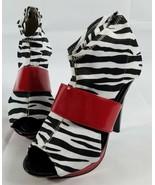 bumper shoes Bumper Red Zebra Print Stretch Heels Pumps Size 7 Red Black... - $58.36