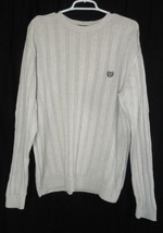 Ralph Lauren Chaps Oatmeal Ivory Ribbed Cotton Sweater Mens L Large Holiday - $9.99