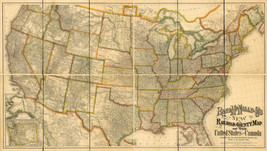 """1876 Railroad Map US and Canada Wall Poster 9""""x16"""" History Home School O... - $12.38"""