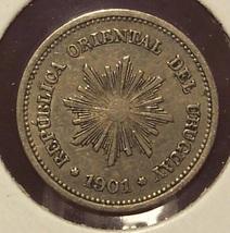 KM# 19 1901-A Uruguay 1 Centesimo Coin #0928 - $1.89