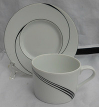 BLOCK SPAL WHITE PEARL COFFEE CUP SAUCER SETS 5 JEWELS BLACK SWIRLS CHINA - $24.39