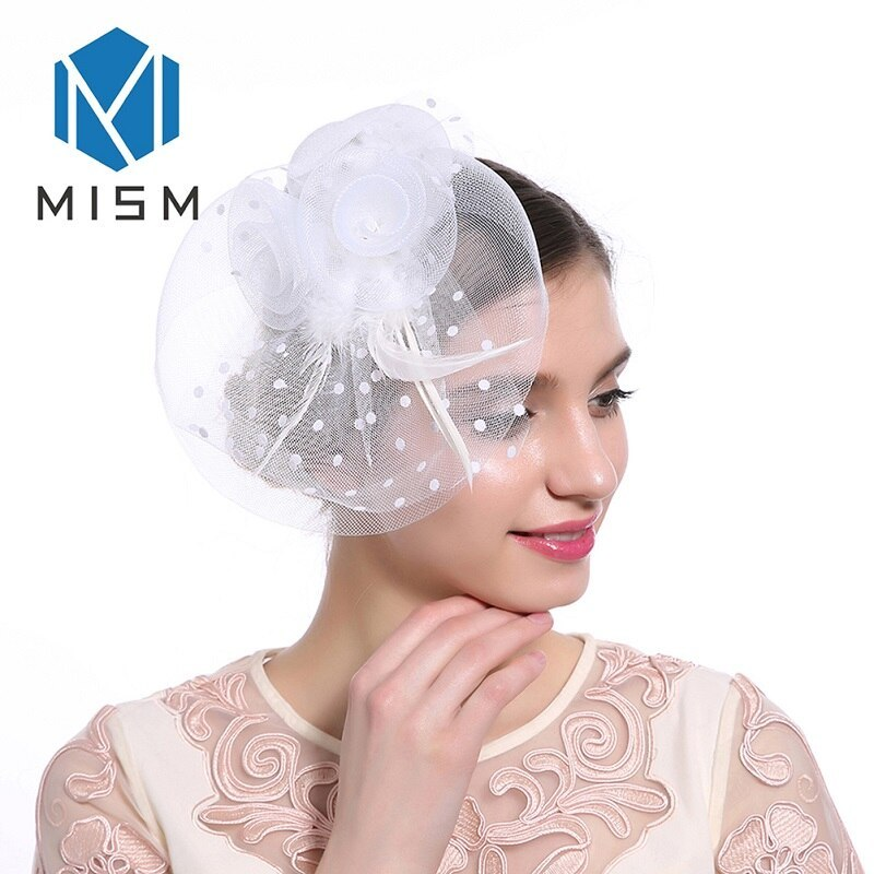 M MISM Women Wedding Fascinator Hat Hair Clip Mesh Veil Dot Feather Hair Bands H - $8.31