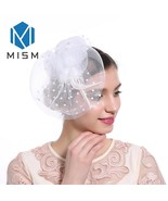 M MISM Women Wedding Fascinator Hat Hair Clip Mesh Veil Dot Feather Hair... - £6.67 GBP