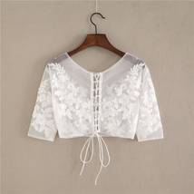 White Floral Tulle Lace Tops Bridesmaids Crop Lace Shirts-crop sleeve,white,plus image 2
