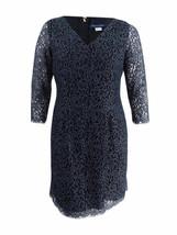 Tommy Hilfiger Womens Navy Blue Floral Lace 3/4 Sleeve V-Neck Dress Sz 1... - $58.91