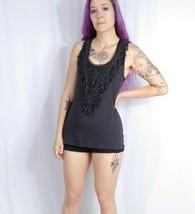 Anthropologie Deletta Crochet Lace Fringe Tank Top M Brown Jersey Slub Y... - $9.50
