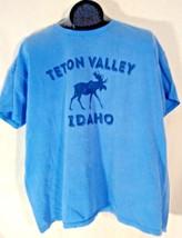 TETON VALLEY IDAHO MOOSE T-SHIRT BLUE GRAPHIC LIGHT BLUE XXL LADY COMFOR... - $7.99