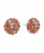 Gloria Vanderbilt Women's Pink Clear Round Stud Earrings Gold Tone New - $14.84