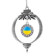 Inspired Silver Ukraine Flag Circle Holiday Christmas Tree Ornament - $14.69