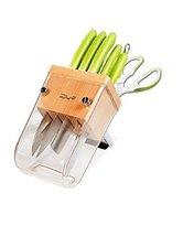 Dorco Mychef Kitchen Knives Scissors Wood Stand Set with Sharpner