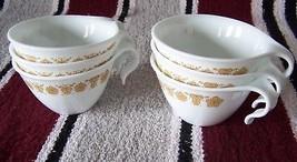 Gold Butterfly Vintage Corning Corelle Open Hook Coffee Tea 6 Cup Set - $16.82